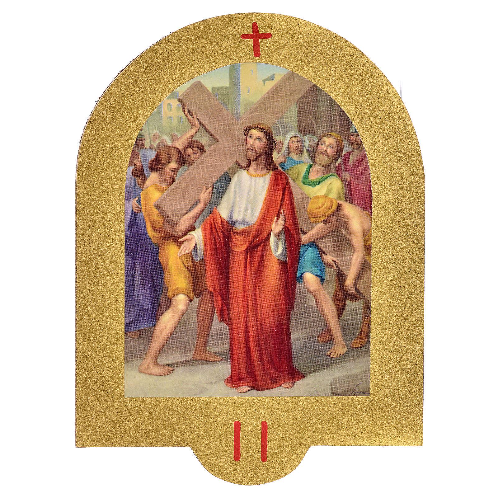 Via Crucis stampa su legno 19x14 cm 15 stazioni 4