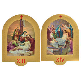 Via Crucis stampa su legno 19x14 cm 15 stazioni s8