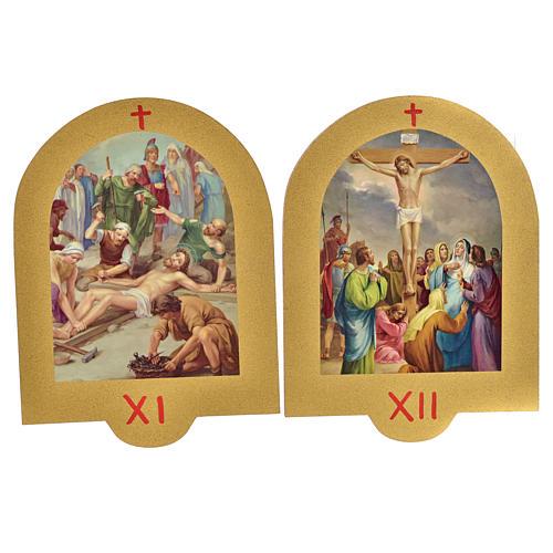 Via Crucis stampa su legno 19x14 cm 15 stazioni 7
