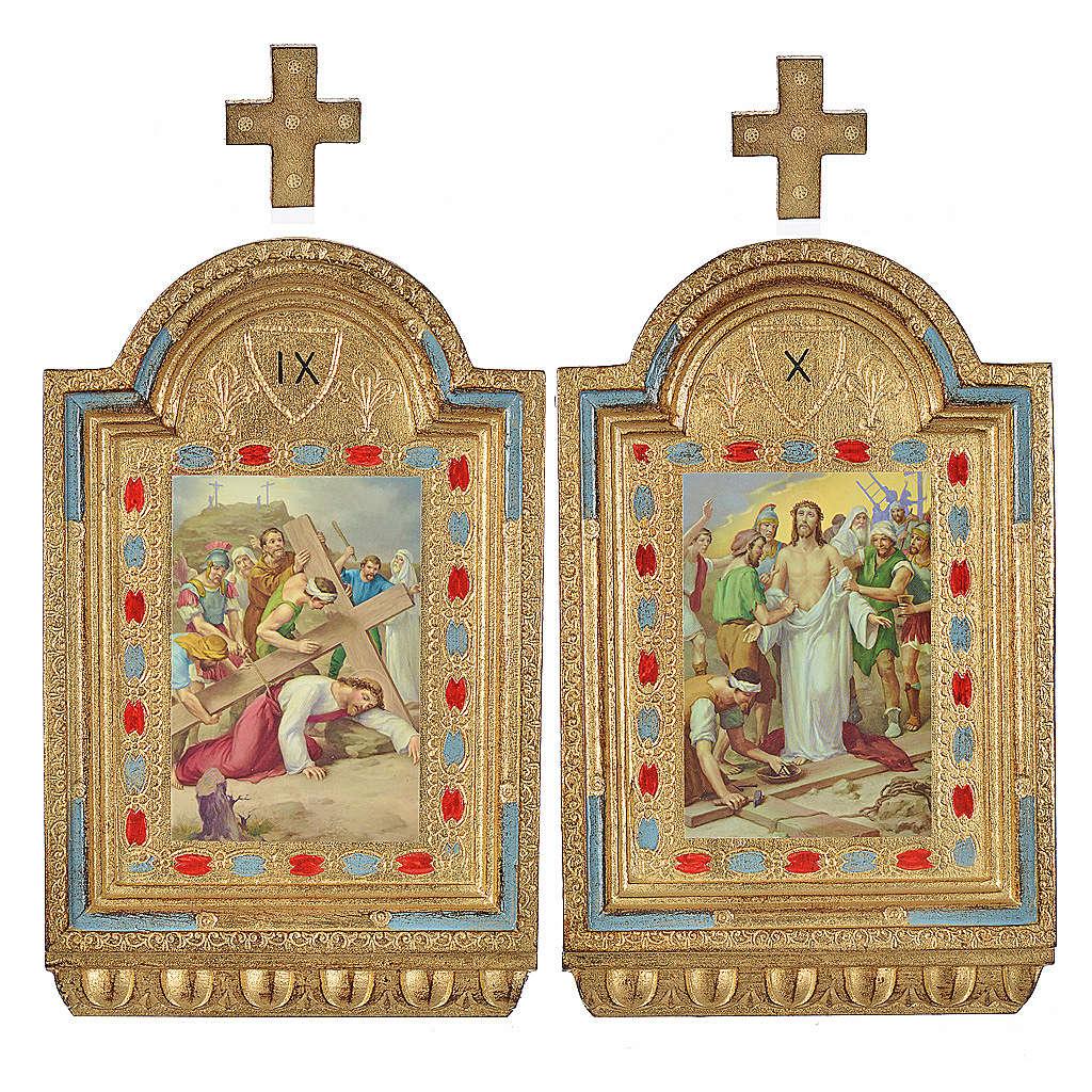 Vía Crucis 15 estaciones estampa sobre madera 30x19 cm 4