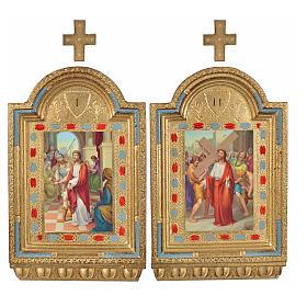 Vía Crucis 15 estaciones estampa sobre madera 30x19 cm s14