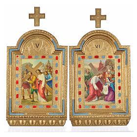 Vía Crucis 15 estaciones estampa sobre madera 30x19 cm s16