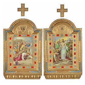 Vía Crucis 15 estaciones estampa sobre madera 30x19 cm s18
