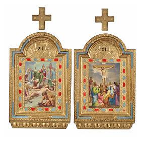 Vía Crucis 15 estaciones estampa sobre madera 30x19 cm s19