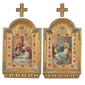 Vía Crucis 15 estaciones estampa sobre madera 30x19 cm s20