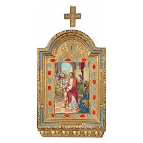 Vía Crucis 15 estaciones estampa sobre madera 30x19 cm s1