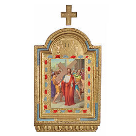 Vía Crucis 15 estaciones estampa sobre madera 30x19 cm s2