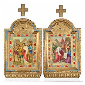 Vía Crucis 15 estaciones estampa sobre madera 30x19 cm s4