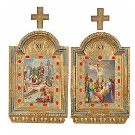 Vía Crucis 15 estaciones estampa sobre madera 30x19 cm s7