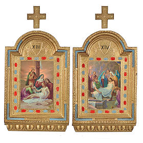 Vía Crucis 15 estaciones estampa sobre madera 30x19 cm s8