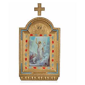 Vía Crucis 15 estaciones estampa sobre madera 30x19 cm s9