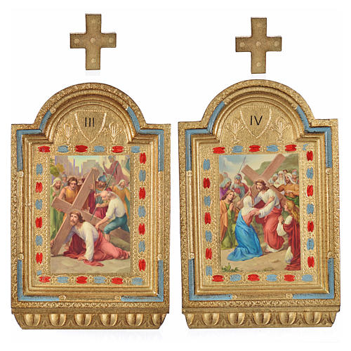 Vía Crucis 15 estaciones estampa sobre madera 30x19 cm 15