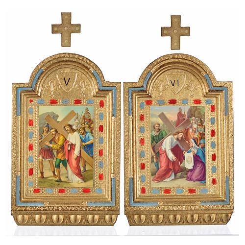 Vía Crucis 15 estaciones estampa sobre madera 30x19 cm 16