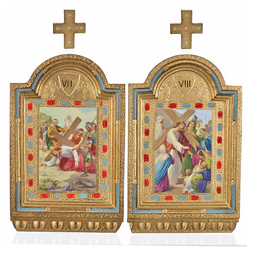 Vía Crucis 15 estaciones estampa sobre madera 30x19 cm 17