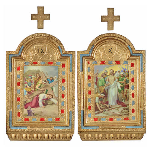 Vía Crucis 15 estaciones estampa sobre madera 30x19 cm 18