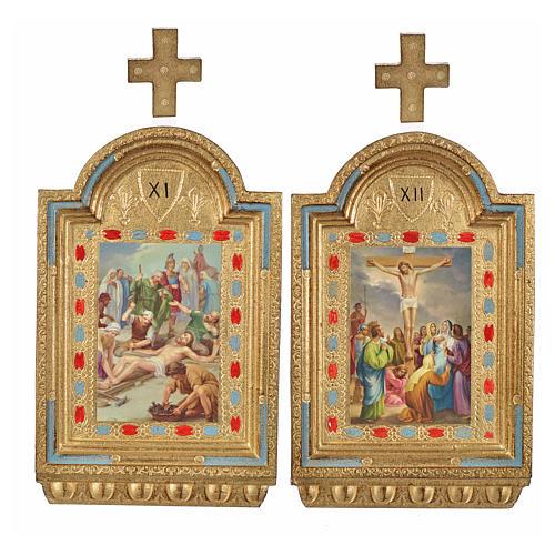 Vía Crucis 15 estaciones estampa sobre madera 30x19 cm 19