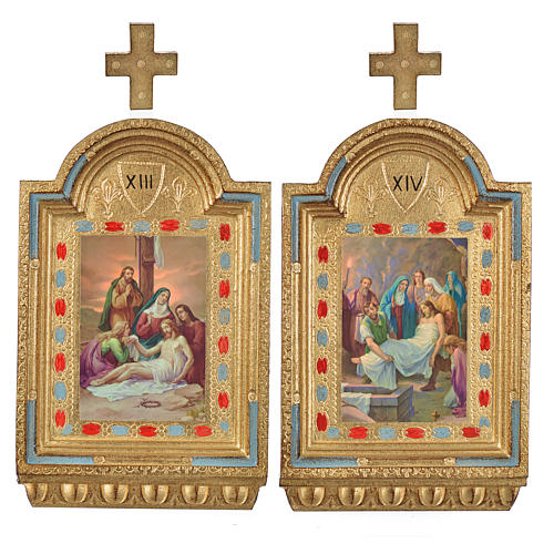 Vía Crucis 15 estaciones estampa sobre madera 30x19 cm 20