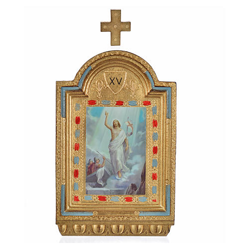 Vía Crucis 15 estaciones estampa sobre madera 30x19 cm 21