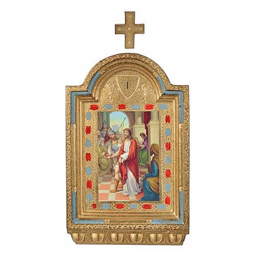 Vía Crucis 15 estaciones estampa sobre madera 30x19 cm 1