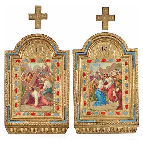 Vía Crucis 15 estaciones estampa sobre madera 30x19 cm 3