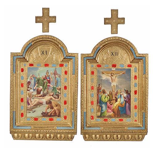 Vía Crucis 15 estaciones estampa sobre madera 30x19 cm 7
