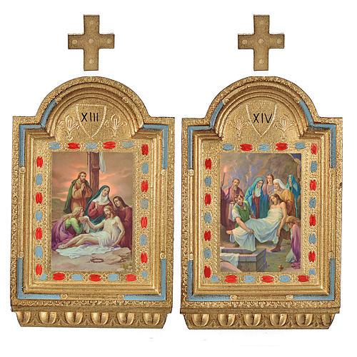 Vía Crucis 15 estaciones estampa sobre madera 30x19 cm 8