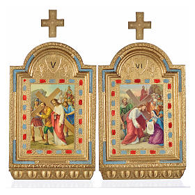 Way of the Cross, altars with print on wood 30x19cm 15 stations s16