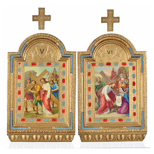 Way of the Cross, altars with print on wood 30x19cm 15 stations 16