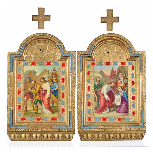 Way of the Cross, altars with print on wood 30x19cm 15 stations 4