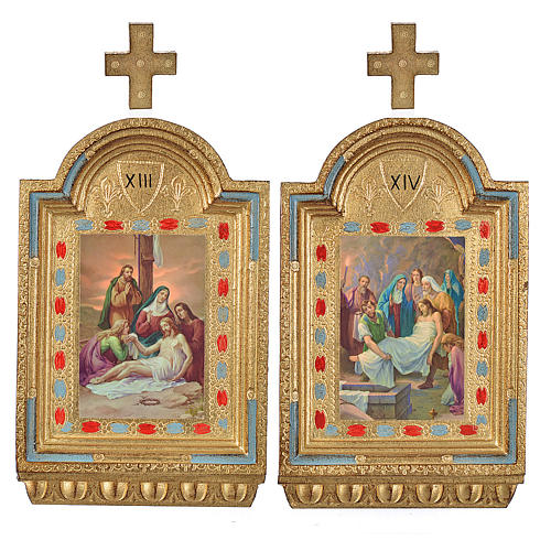 Way of the Cross, altars with print on wood 30x19cm 15 stations 8