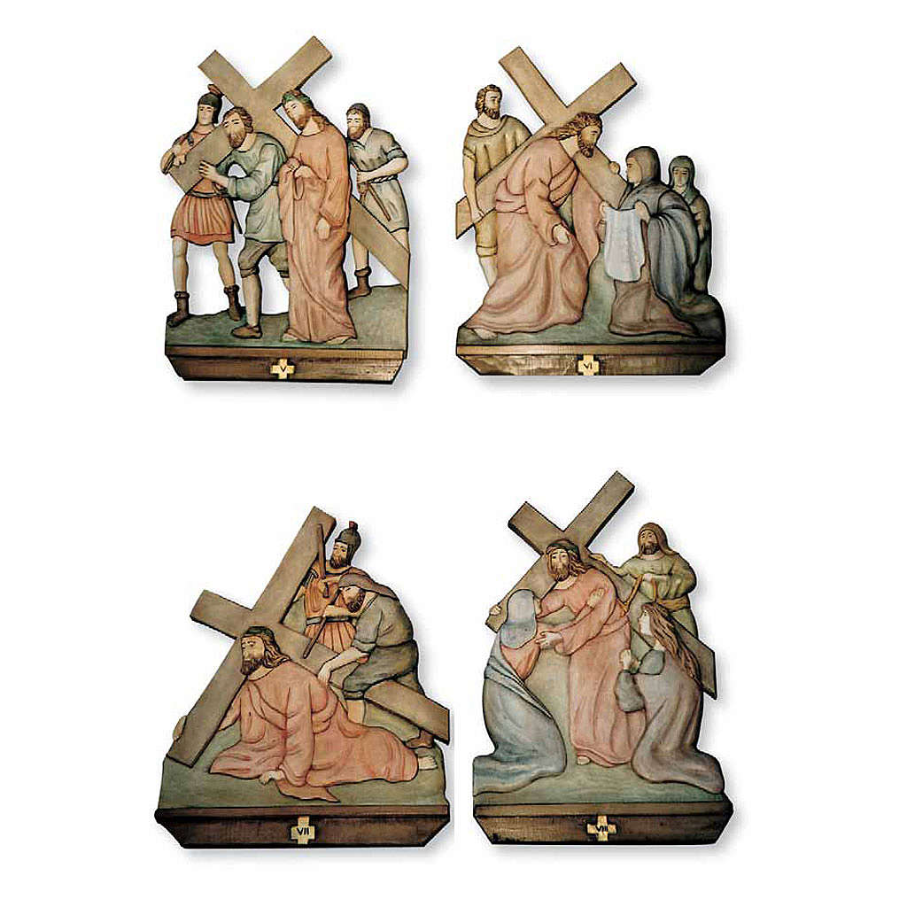 Stations of the Cross relief in painted wood 4