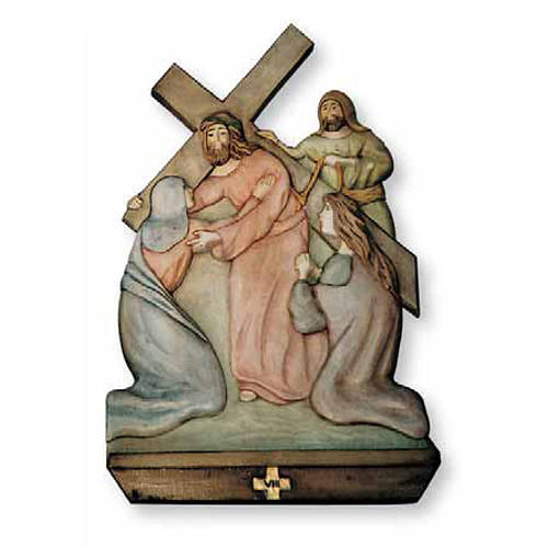 Stations of the Cross relief in painted wood 1