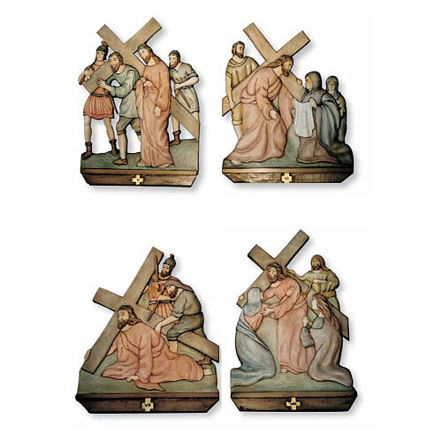 Stations of the Cross relief in painted wood 2