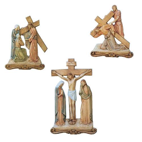 Via Crucis 15 Stazioni rilievo legno colorato 65x43 cm 1