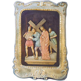 Stations of the Cross 100x70cm carved wood and gold leaf s1