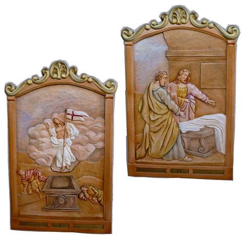 Vía Crucis 14 estaciones 80 x 60 cm  madera tallada a mano 1