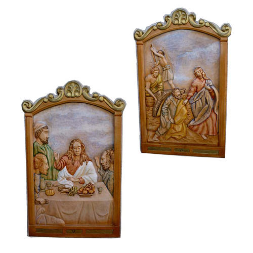 Stations of the Cross 80x60cm hand carved wood 3
