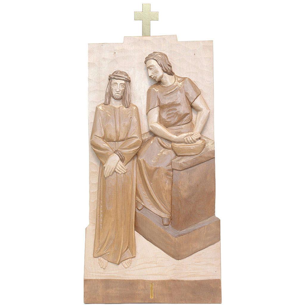 Vía Crucis 14 estaciones 40 x 20 cm madera Valgardena con pátina 4