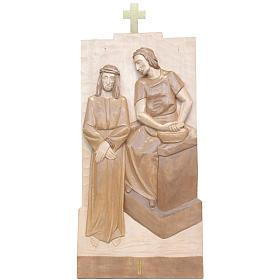 Vía Crucis 14 estaciones 40 x 20 cm madera Valgardena con pátina s1