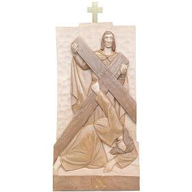 Vía Crucis 14 estaciones 40 x 20 cm madera Valgardena con pátina s2