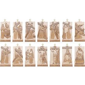 Vía Crucis 14 estaciones 40 x 20 cm madera Valgardena con pátina s3