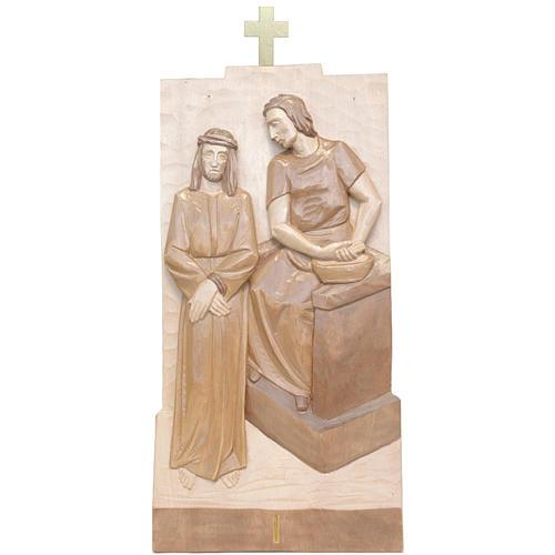 Vía Crucis 14 estaciones 40 x 20 cm madera Valgardena con pátina 1