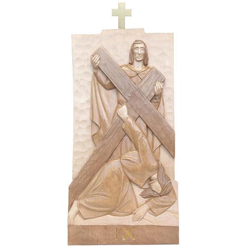 Vía Crucis 14 estaciones 40 x 20 cm madera Valgardena con pátina 2