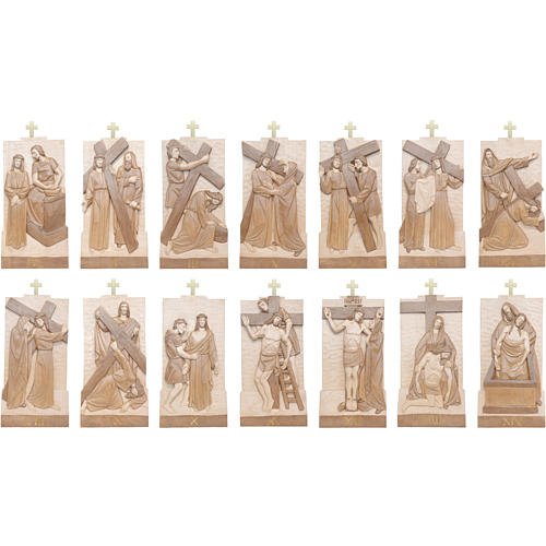 Vía Crucis 14 estaciones 40 x 20 cm madera Valgardena con pátina 3