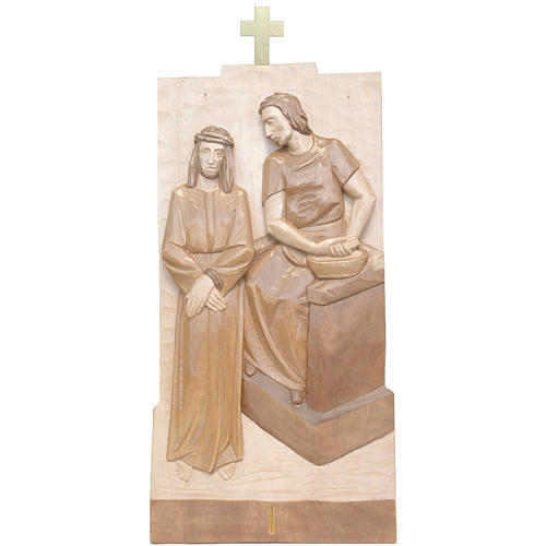 Via Crucis 14 stazioni 40x20 cm legno Valgardena multipatinato 1