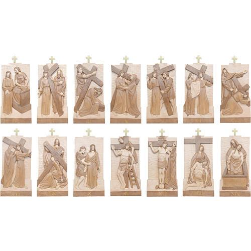 Via Crucis 14 stazioni 40x20 cm legno Valgardena multipatinato 3