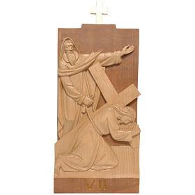 Vía Crucis 14 estaciones 40 x 20 cm madera de la Valgardena s1