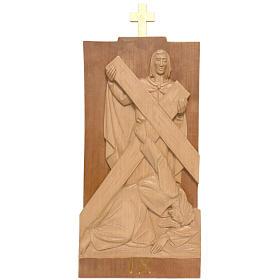 Vía Crucis 14 estaciones 40 x 20 cm madera de la Valgardena s2