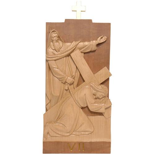 Vía Crucis 14 estaciones 40 x 20 cm madera de la Valgardena 1