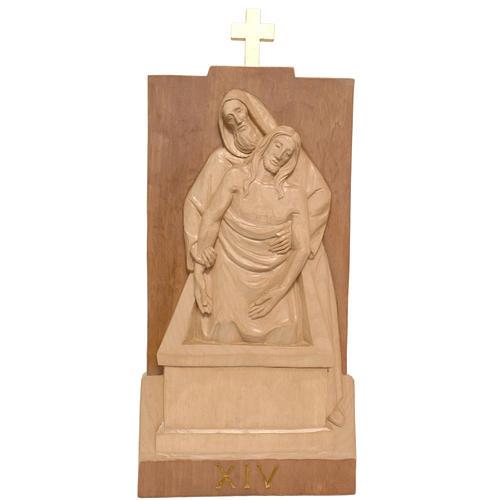 Via Crucis 14 stazioni 40x20 cm legno Valgardena patinato 3